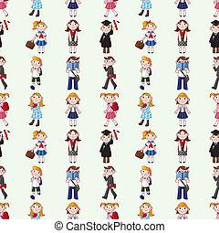 seamless student pattern, cartoon vector illustration