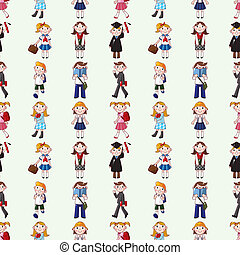 seamless student pattern,cartoon vector illustration