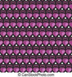 Seamless stylish texture with hearts and purple color
