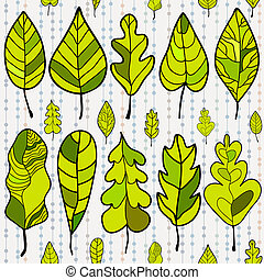 Seamless stylized leaf pattern on colored background. Decorative template texture with leaves. Vector illustration
