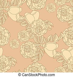 Seamless summer floral pattern background with a blossoming branch of wild rose