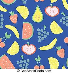 Seamless summer fruit vector pattern blue