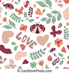 Seamless Summer or Spring Background with Butterflies and Ladybugs