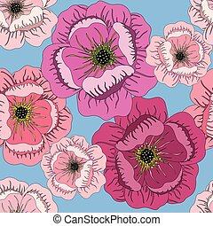 seamless summer pattern with roses on blue
