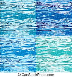 seamless, superficie del agua, patrón, variaciones
