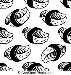 Seamless sushi pattern