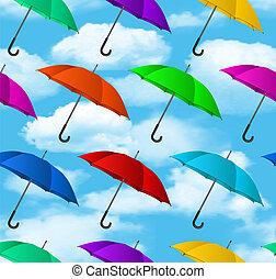 seamless, színes, esernyők, háttér