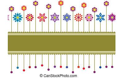 seamless, színpompás, virágos, retro, határ