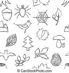 seamless, szórakozottan firkálgat, erdő, motívum