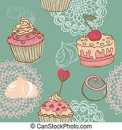 seamless, tło, z, ciasto, słodycze, i, desery, -, w, wektor