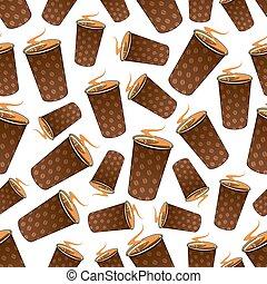 Seamless takeaway coffee paper cups pattern