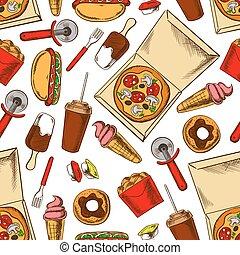 Seamless takeaway fast food pattern background