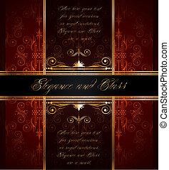 seamless, tapet, gyllene, fin, dekoration, elegant