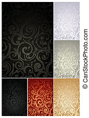 seamless, tapete- muster, satz, von, sechs, farben