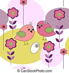 seamless, tarjeta, con, aves, y, flores