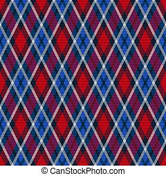Seamless rhombic illustration muted pattern as a tartan plaid in blue, violet and red hues, texture for flannel shirt, plaid, tablecloths, clothes, blankets and other textile