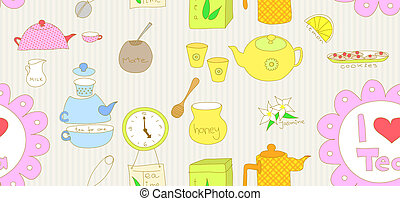 Seamless tea doodle