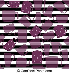 seamless teapot pattern with stripe background