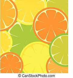 seamless template of sliced Grapefruit, lemon and orange -...