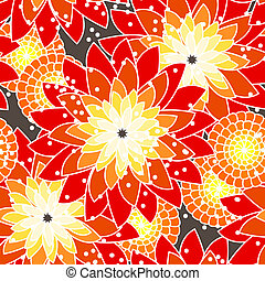 seamless, teste padrão flor, em, tons alaranjados