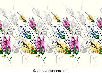 Seamless textile floral border