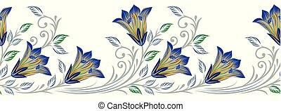 Seamless textile flower border
