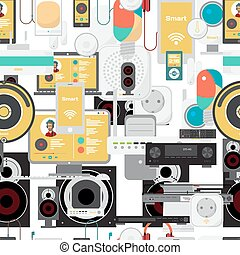 Seamless textile pattern of the electronic devices. Home theater, stereo, workplace, smart home. Vector flat cartoon background