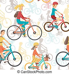 Seamless textile pattern with family to ride a bike. Background with man, woman, boy, girl of cyclists. Vector color seamless flat pattern