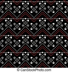 Seamless textile sewing pattern of stitching and safety pins