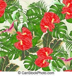 seamless, textura, arreglo floral, ramo, con, flores tropicales, lirios, vector.eps