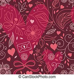 seamless, textura, com, corações, e, flowers.