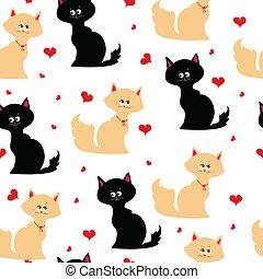 seamless, textura, com, gatos