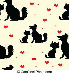 seamless, textura, com, silhuetas, de, cachorros, e, gatos