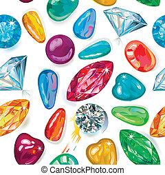 seamless, textura, de, coloreado, gemas