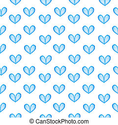 seamless, texture, à, bleu, aquarelle, cœurs