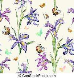 seamless, texture., 水彩画, 春, flowers., アイリス