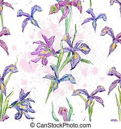 seamless, texture., 水彩画, flowers., アイリス