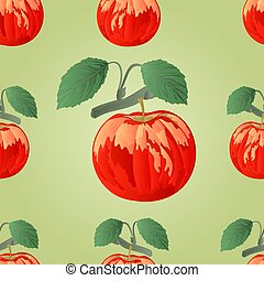 Seamless texture apple with leaf vector.eps