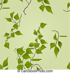 Seamless texture Birch twig with catkins vector.eps
