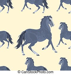 Seamless texture black horse vecto - Seamless texture black...