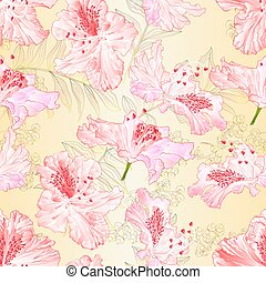 Seamless texture blossoms rhododendrons light pink set on a nature background vintage vector illustration editable hand draw