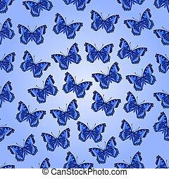Seamless texture  blue butterflies