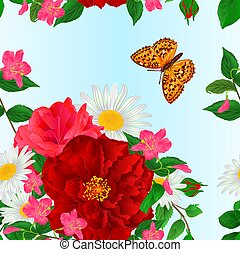 Seamless texture bouquet  red and pink roses and daisy and butterfly  watercolor vector.eps