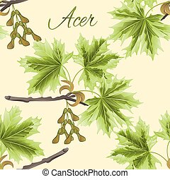 Seamless texture branch Acer-Maple and leaves vector.eps -...