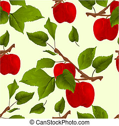 Seamless texture branch apple tree with red apples and ...