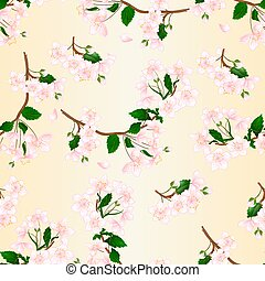 Seamless texture branch flowers wild Cherry natural background vintage vector.eps