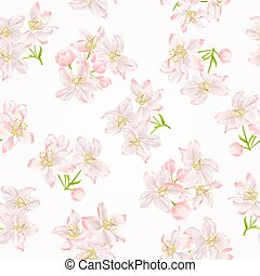 Seamless texture branch of apple tree with flowers vector.eps
