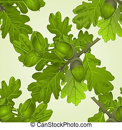 Seamless texture branch of oak with acorns and leaves natural background vector