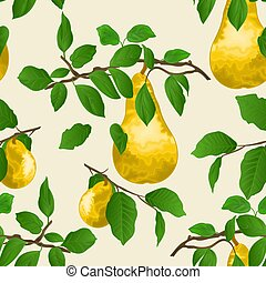Seamless texture branch of pears with yellow ripe pear vector