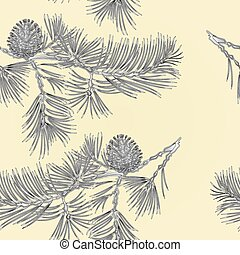 Seamless texture branch Pine with pine cone as vintage engraving vector.eps